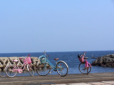 Japan Radtour Pause am Meer