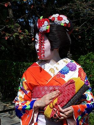 Japan Radtour Frau in Kyoto