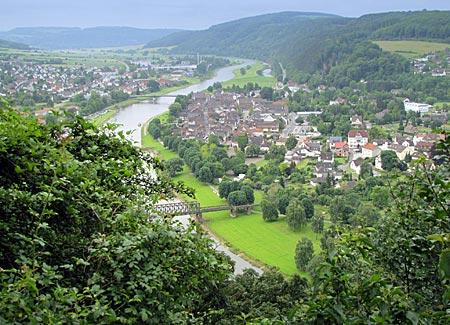 Blick auf Bodenwerder im Weserbergland