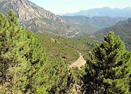 Korsika - Zugausblick zwischen Corte und Vizzavona