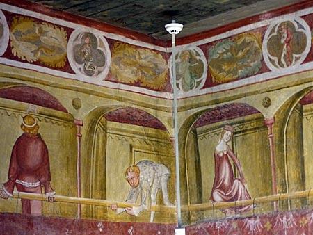 Die gemalten Abenteuer auf Stein waren viele Jahre verborgen. Viele der größten zyklischen Bilderzählingen Europas aus dem Mittelalter entstanden nach literarischen Vorlagen