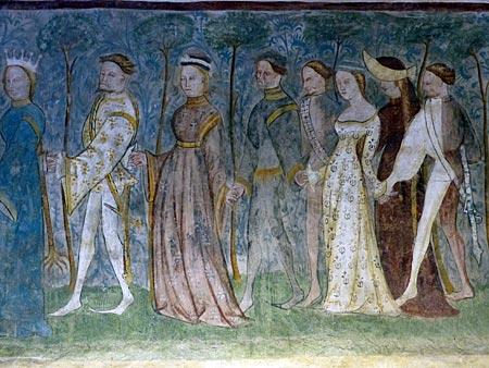 Geschichten aus der Ritter- und Sagenwelt des Mittelalters: Im großen Turniersaal sieht man Edelleute beim Reigentanz