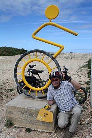 Portugal - Algarve - Kilometer null des Ecovia do Litoral bei dem Cabo de São Vicente