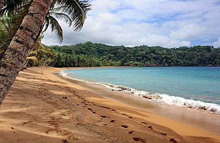 Bom Bom Island Resort auf Príncipe: Den Palmen bewachsenen Strand entlang zieht sich nur eine Fußspur: die eigene