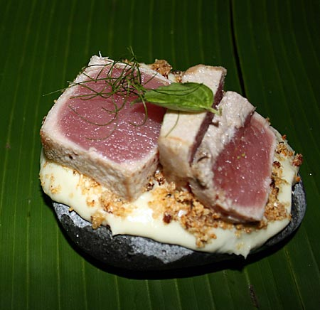 Hauptspeise mit fangfrischem Thunfisch, zubereitet von Lubomir Stanisic